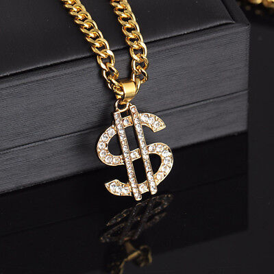 18K Gold Plated Dollar Sign Necklace Gangster Pimp Hip Hop Fashion Pendant - Gold Dollar Sign Necklace