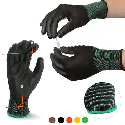 10 Pairs Work Gloves Black Ultra-thin Safety Polyurethane Coated Nylon Shell