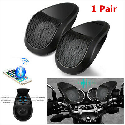 Pair 12V Motorcycle Bluetooth Speakers Portable Stereo Audio FM Radio MP3 Player