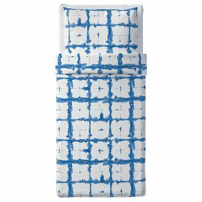 IKEA TÄNKVÄRD Bettwäsche Set, 2-teilig, Karo Blau Bettgarnitur 140x200cm Leinen