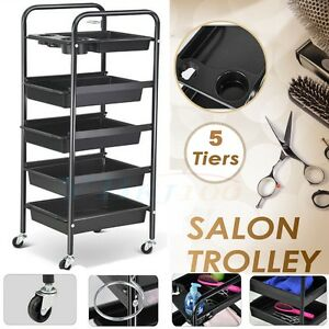 AU NEW Beauty Spa Hairdresser Coloring Hair Salon Trolley 5 Tier Rolling Storage