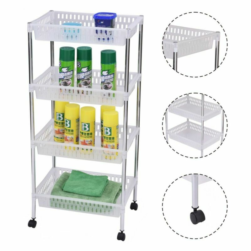 4 Layers Portable Trolley Cart Thick Serving Medical Instrument With Wheels