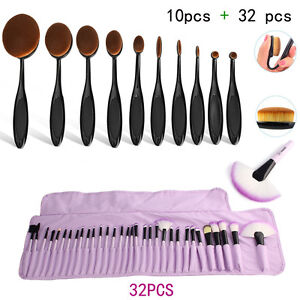 32tlg Makeup Brush Set+10tlg Oval Pinsel Puderpinsel Brush Make Up Zahnbürste
