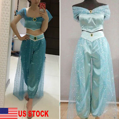 Girl Costums (US Aladdin Jasmine Princess Cosplay Women Girl Fancy Dress Up Party Costume)