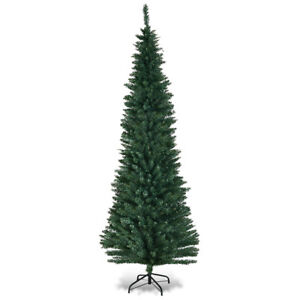 7ft pvc artificial slim pencil christmas tree w stand home holiday decor green