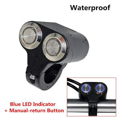 Blue LED Indicator+Manual-return Button Motorcycle Handlebar Lights Switch 7/8