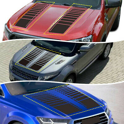 Hood Bonnet Matte Black Stripes Graphics Decor Sticker Car SUV Pickup Universal