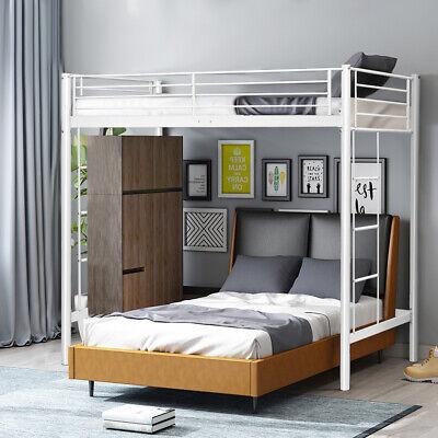 Twin Loft Bed Metal Frame w/Ladder Guard Rail for Teens Kids Bedroom Dorm -