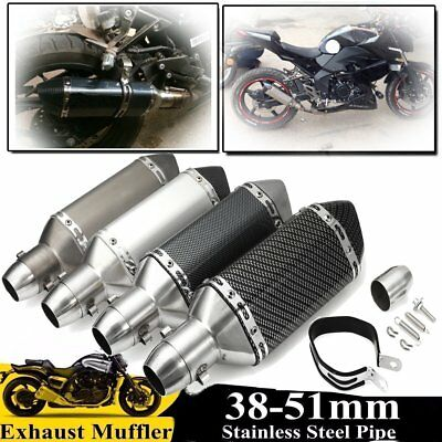 38-51mm Universal Motorcycle Steel Short Exhaust Muffler Pipe + Remove Silencer