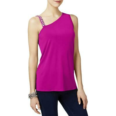 Inc Womens Pink One-shoulder Sequined Sleeveless Pullover Top Blouse L 9868