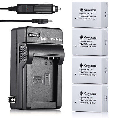 NB-10L Battery & Wall Charger for Canon PowerShot SX40 SX50 SX60 HS G16 G15 G1X