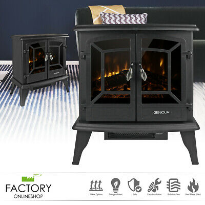 "20"" Electric Fireplace Heater Freestanding Log Wood Fire LED Flame Warm Stove"