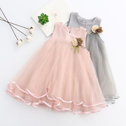Flower Girl Princess Baptism Dress Baby Wedding Party Pageant Tutu Tulle Dresses