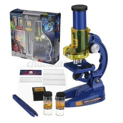 Educational Monocular Microscope Kit Science Chemistry Lab Set 1200x Kids Gifts