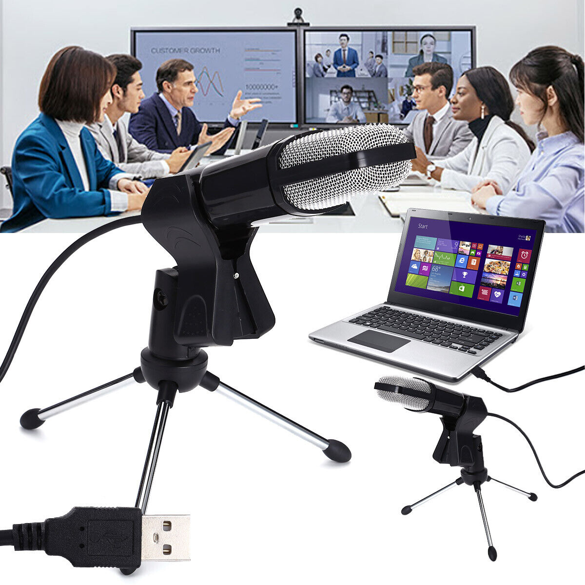Condenser USB Microphone Tripod Stand for Game Chat Studio R