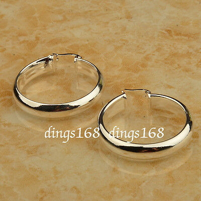 (925 Sterling Silver 30mm Medium-Size 5mm Wide Smooth Shiny Flat Hoop Earring ZG2)