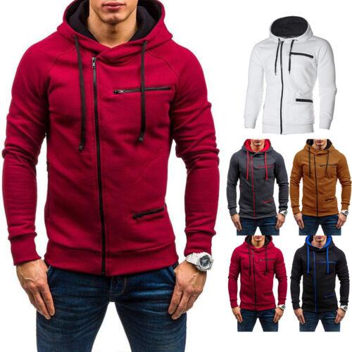 Mens Hoodie Coat Jacket Winter Warm Hooded Sweatshirt Outwear Jumper Sweater New