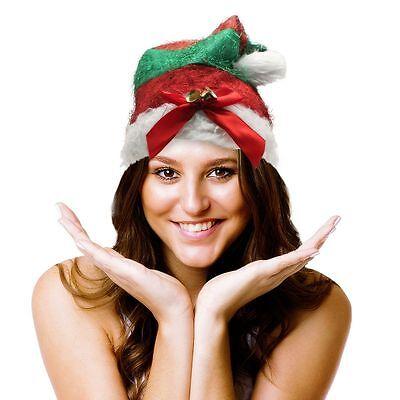 Christmas Santa Red   Green Striped Tinsel Ornament Elf Hat W Bells  17  Tall