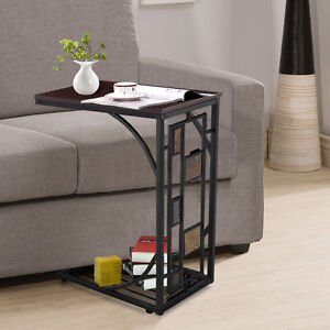 Sofa Bed Side End Coffee Table Modern Magazine Snack Wooden Desk Laptop  Metal C