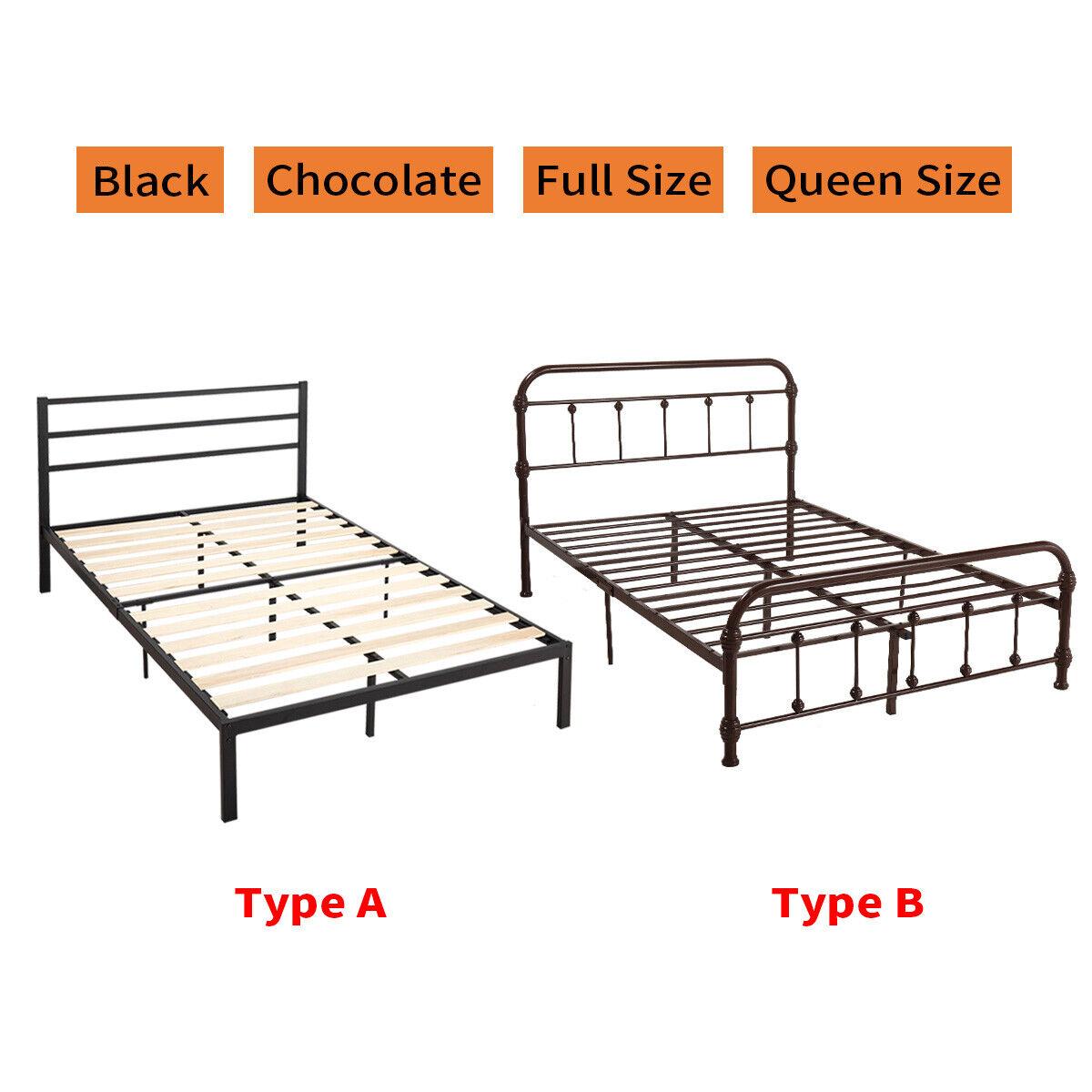Queen Full Size Metal Bed Frame Foundation Platform Headboar