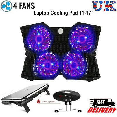 "4 Fans Laptop Cooler Mat Stand 12"" 15.4"" 15.6"" 17"" inch Gaming Cooling Pad Quiet"