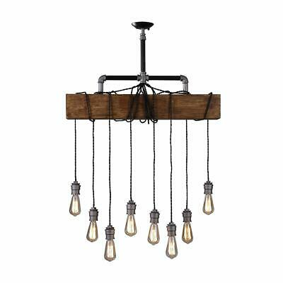 Rustic Wood Beam Island Hanging Pendant Lamp With 8 Edison B