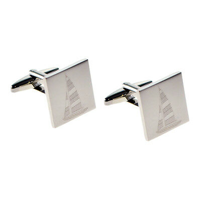 Engraved Yacht in Sail CUFFLINKS Sailor Captain Owner Crew Presentation GIFT Box