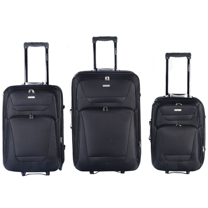 GLOBALWAY Expandable 3 PCs Luggage Travel Set Trolley Bag Suitcase 2 Wheels New