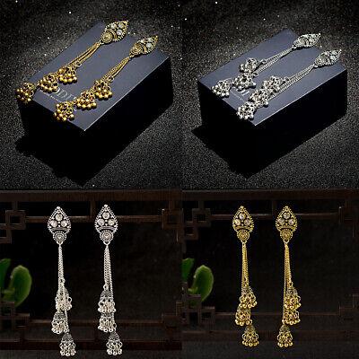 Retro Women Bell Gypsy Gemstone Tassel Bead Jhumka Indian Charm Tassel Earrings - Gemstone Charm Earrings