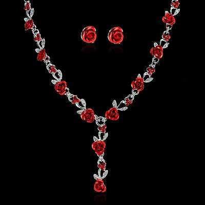 Jewellery - New Women Flower Rose Wedding Bridal Jewelry Crystal Charm Necklace Earrings Set