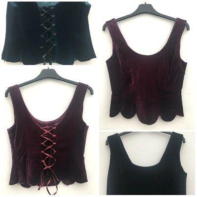 Purple Velvet Bluse (Ladies Velvet Corset Top Purple Teal Or Black Size 10-18 *NEW*)