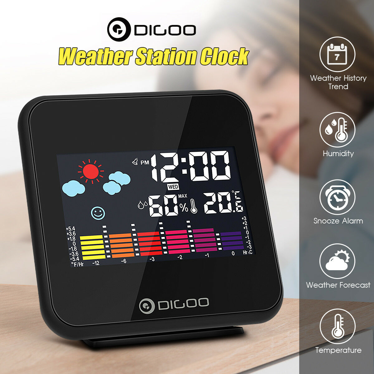 Digoo Color Weather Forecast Station Hygrometer Thermometer Snooze Alarm Clock
