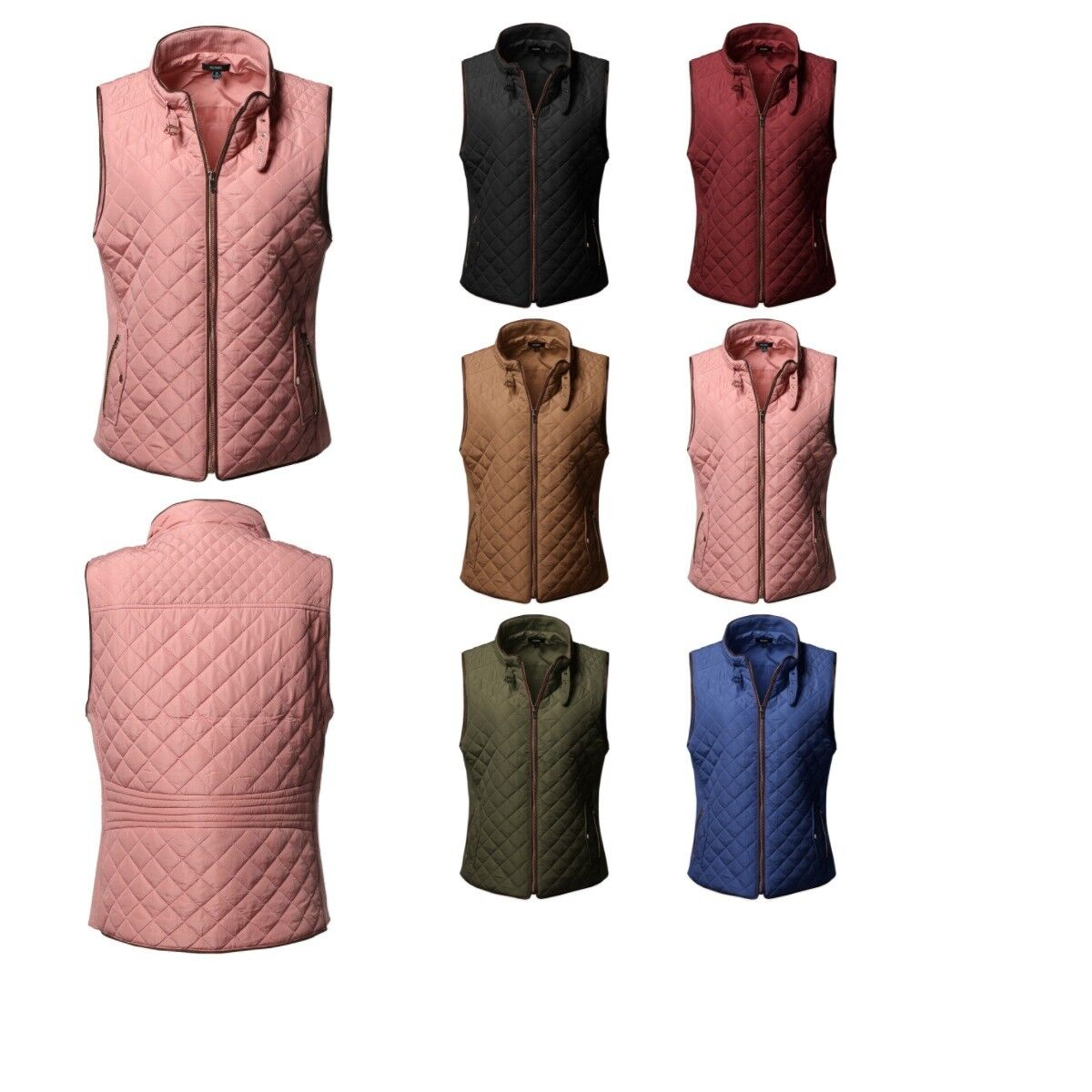 FashionOutfit Plus Size Solid Quilted Padding Vest with Sued