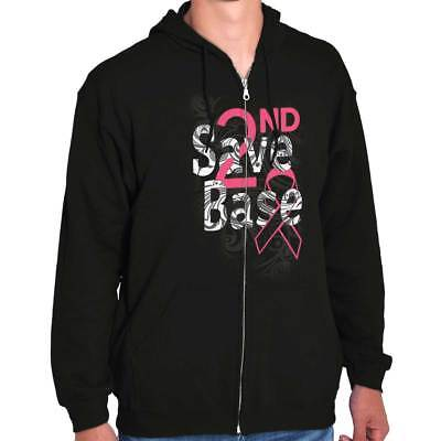 Breast Cancer Awareness Shirt | Save 2nd Base Pray for Cure Zip Hoodie (Save 2nd Base)