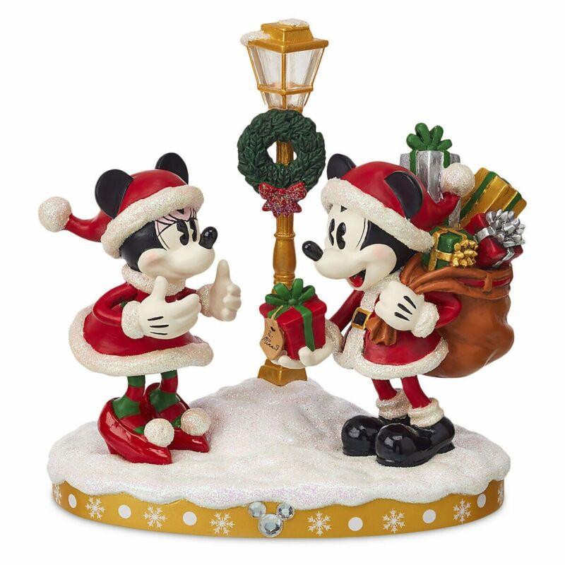 "Mickey and Minnie ""GOOD TIDINGS"" Light Up Christmas Figure Disney Parks Figurine"