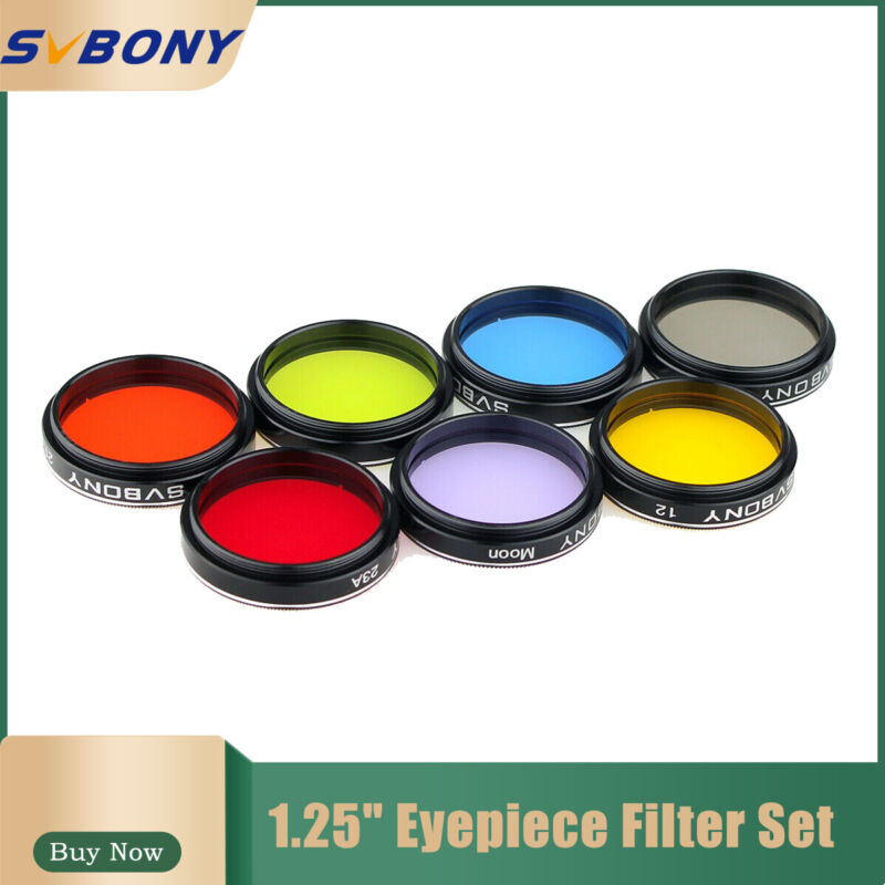 """SVBONY 1.25"""" Moon Filter+CPL Filter+Five Color Filter Kit for Telescope Eyepiece"""