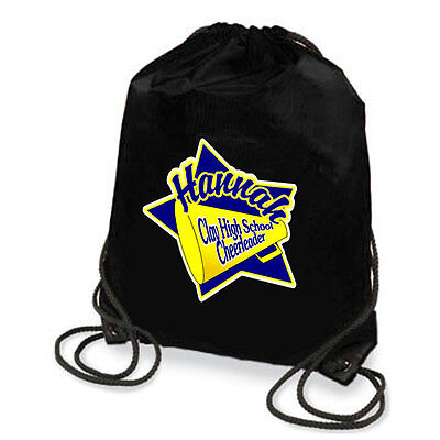 Personalized Cheer Star With Megaphone Drawstring Backpack