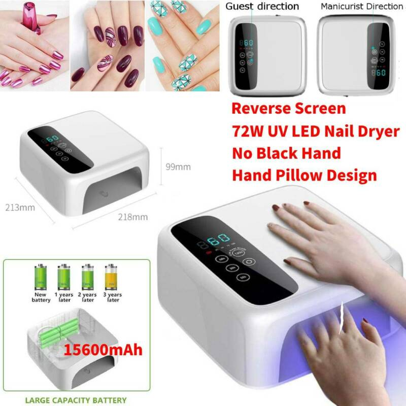 72W Cordless LED/UV Nail Lamp Light Gel Polish Nail Dryer Wireless Rechargeable