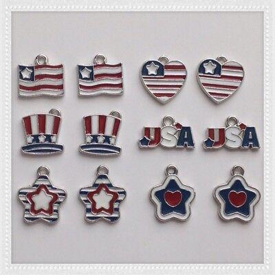 12 Patriotic Star Heart Hat USA Flag Charm Jewelry Bracelet Earrings Making MP12 ()