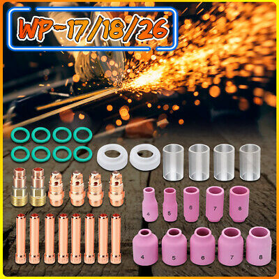 40ps TIG Welding Torch Stubby Gas Lens Set#10 Glass Pyrex Cup Kit F/ WP-17/18/26