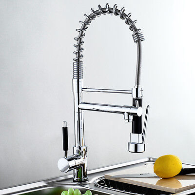 Modern Chrome Pull Out Spray Hose Swivel Brass Kitchen Faucet Mixer Tap Vessel