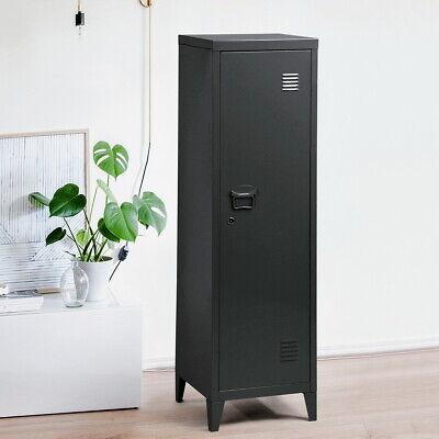 Kid Storage Cabinet Industrial Metal Locker W Lock Shelves Black 54.1 H