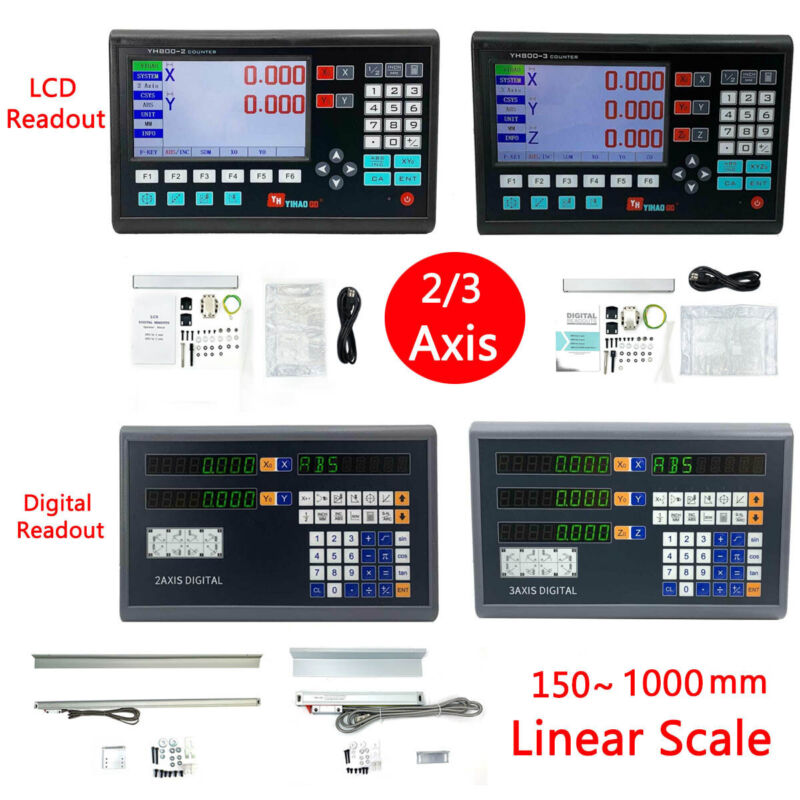 2/3 Axis Digital Readout for Lathe or Milling Machine DRO TTL Linear Glass Scale