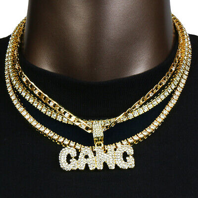 Hip Hop 4pc Bubble Gang pendant Tennis Choker link Chain Necklace (Chain Set Pendant)