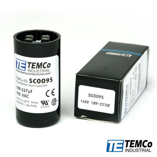 TEMCo 189-227 uf/MFD 165 VAC volts Round Start Capacitor 50/60 Hz -Lot-1