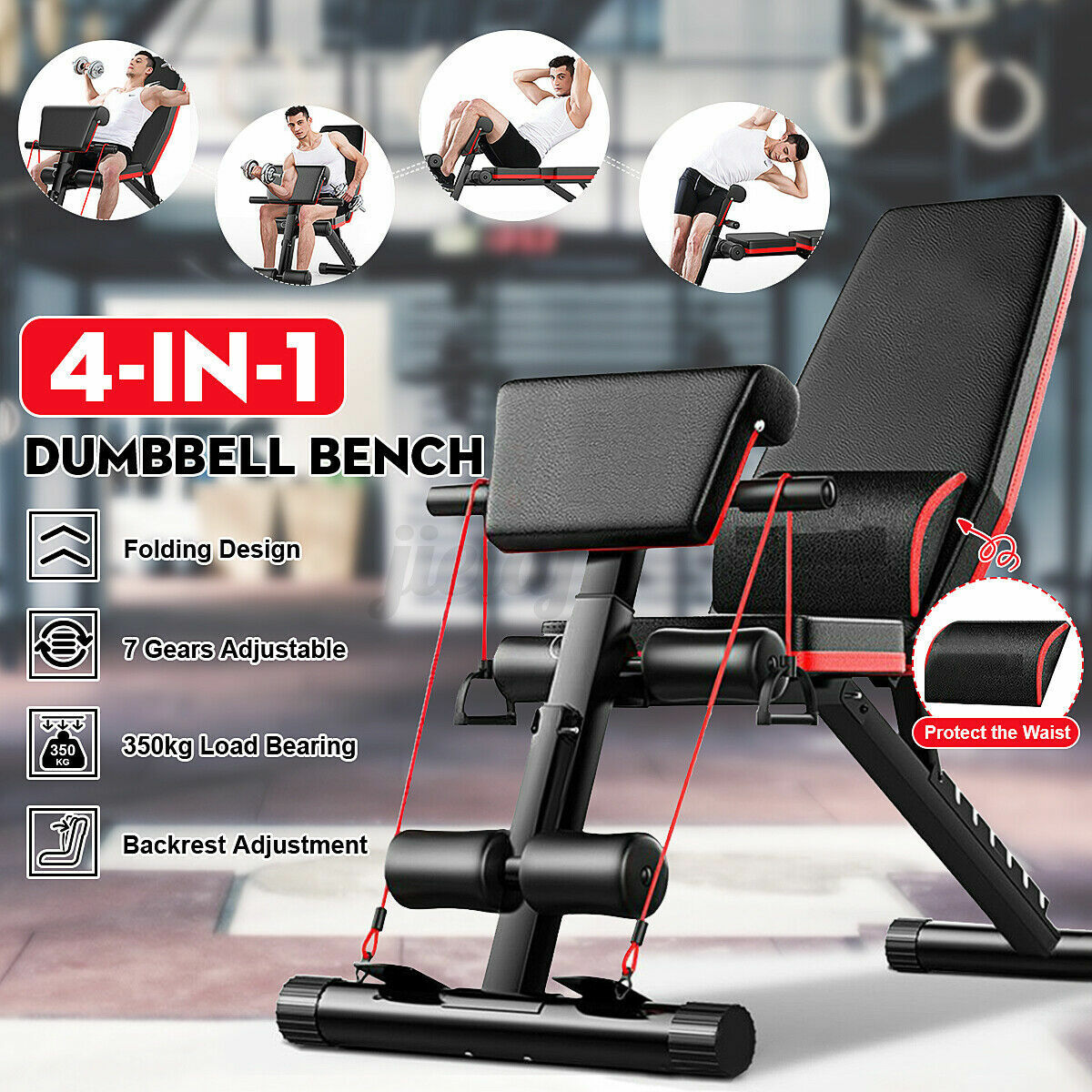 Home Gym Adjustable Weight Bench Barbell Lifting Workout Fit