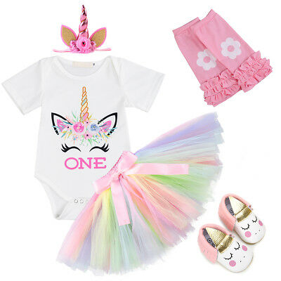 1st Birthday Outfits for Baby Girl Unicorn Romper Tutu Skirt One Year Clothes - Tutu Outfit For Baby