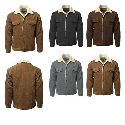 FashionOutfit Men's Solid Corduroy Sherpa Line Western Style Long Sleeve Jacket