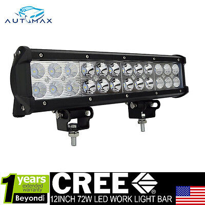 12inch 72W Led Work Light Bar Spot Flood Beam Boat Jeep Driving Lamp Offroad 4WD