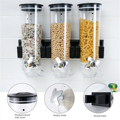 Wall Mounted Cereal Dispenser Triple Dry Food Grain Storage Container Kitchen